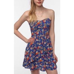 Urban Outfitters Cooperative Blue Strapless Dress